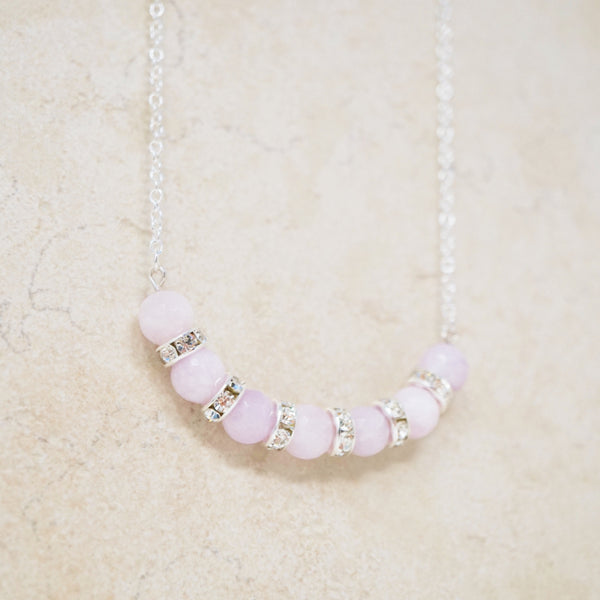 Lilac Jade & Sterling Silver Gemstone Bar Necklace