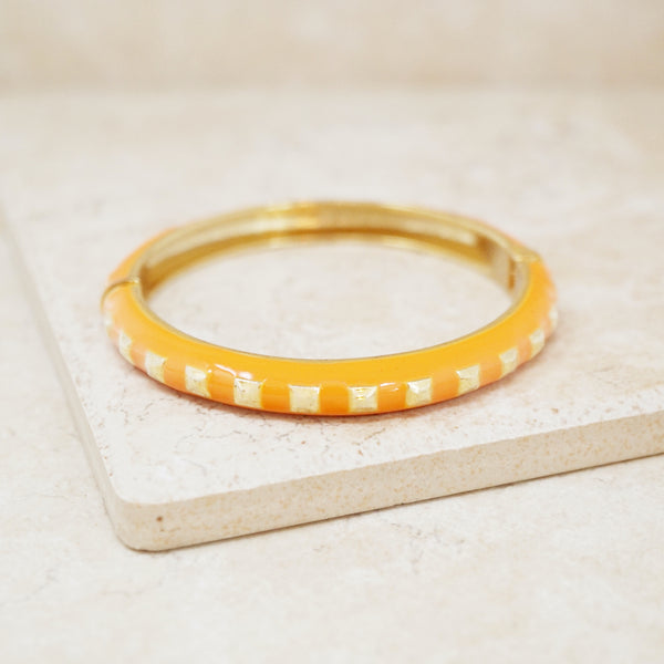 Vintage Orange Enamel Studded Bangle Bracelet, 1990s