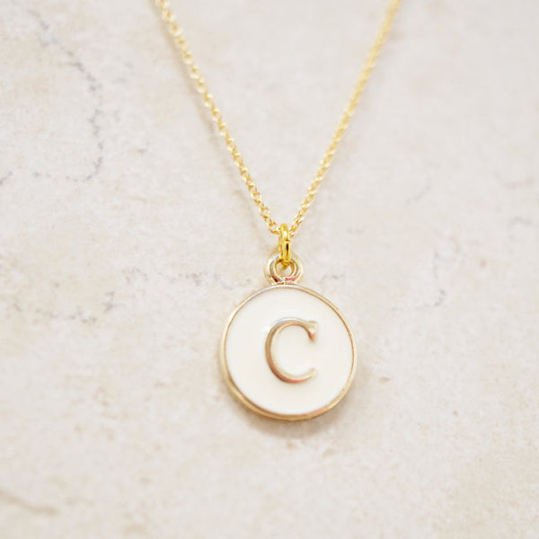 Enamel Initial Necklace (White / Gold)