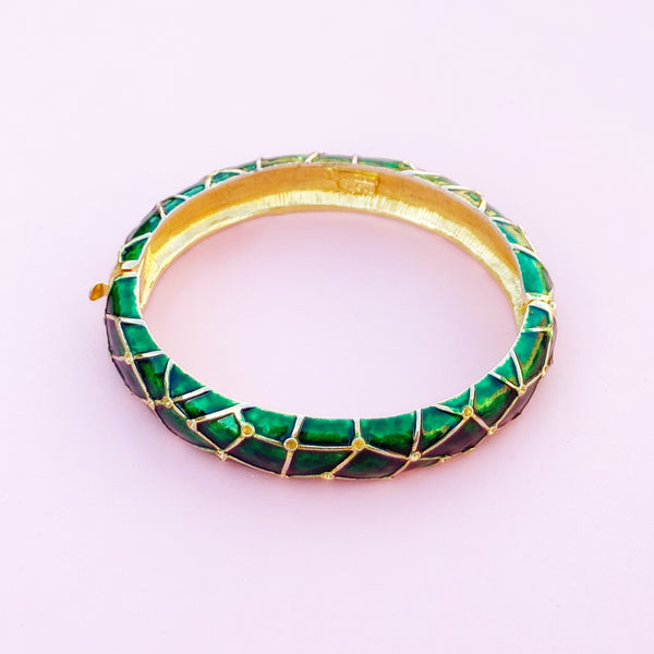 Vintage Gilt & Green Enamel Hinged Bangle Bracelet by Marcel Boucher, 1950s