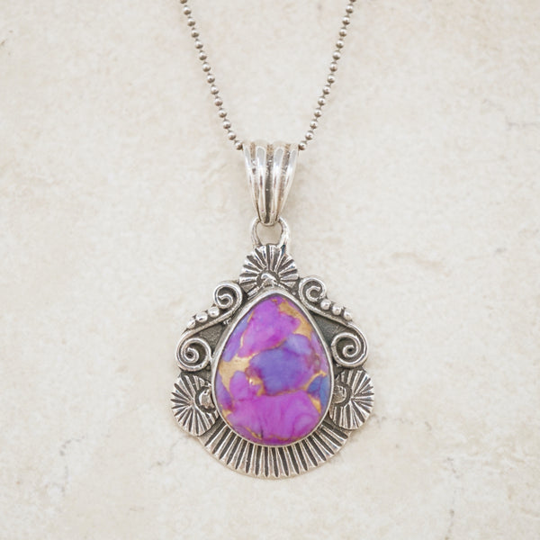 Sterling Silver & Purple Jasper Necklace
