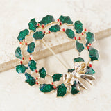 Vintage Enameled Christmas Wreath Brooch, 1980s