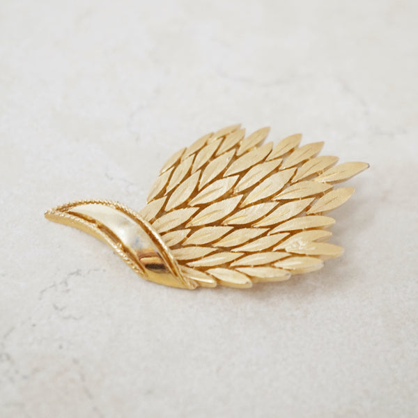 Vintage Gilded Wheat Bunch Brooch by Crown Trifari, 1960s