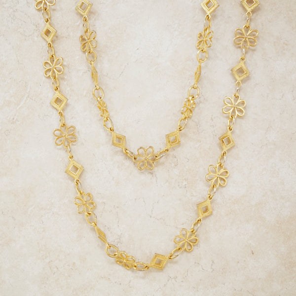 Vintage Gilded Flower Chain Necklace by Crown Trifari, 1960s