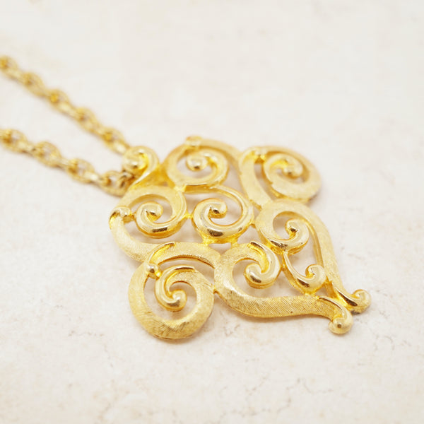 Vintage Gilt Abstract Swirl Pendant Necklace by Crown Trifari, 1960s