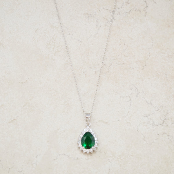 Emerald Crystal and Sterling Silver Necklace