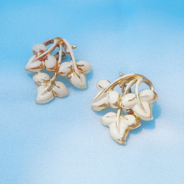 Vintage Gilded White Enamel Leaf Earrings by Coro, 1950s