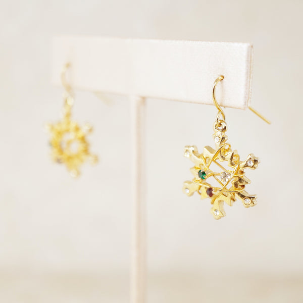 Vintage Gilded Christmas Snowflake Drop Earrings, 1980s