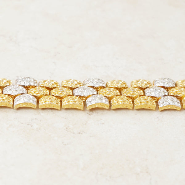 Vintage Two Tone Gilt & Rhinestone Textured Nugget Bracelet by Panetta, 1970s