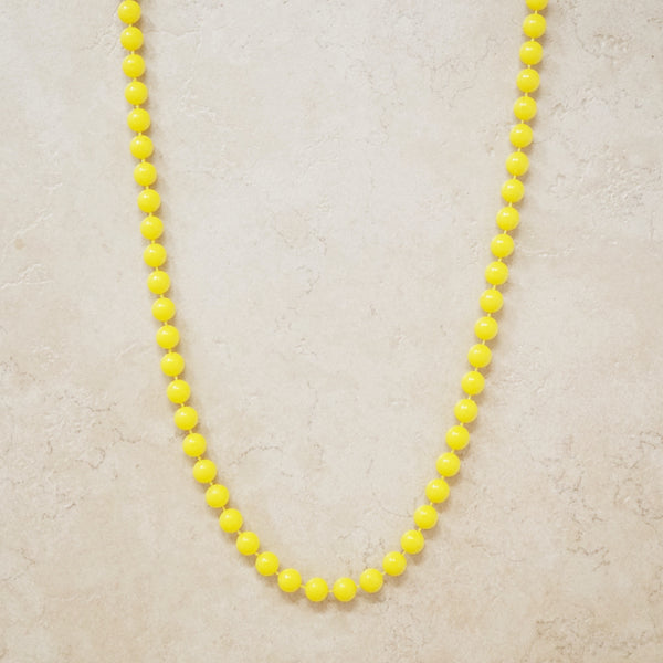 Vintage Sunshine Yellow Plastic Beaded Necklace, 1960s