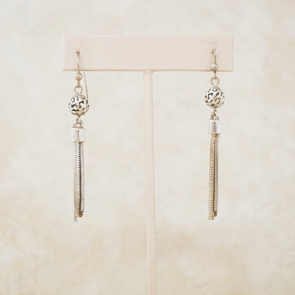 Vintage Silver Tassel Drop Earrings, 1990s