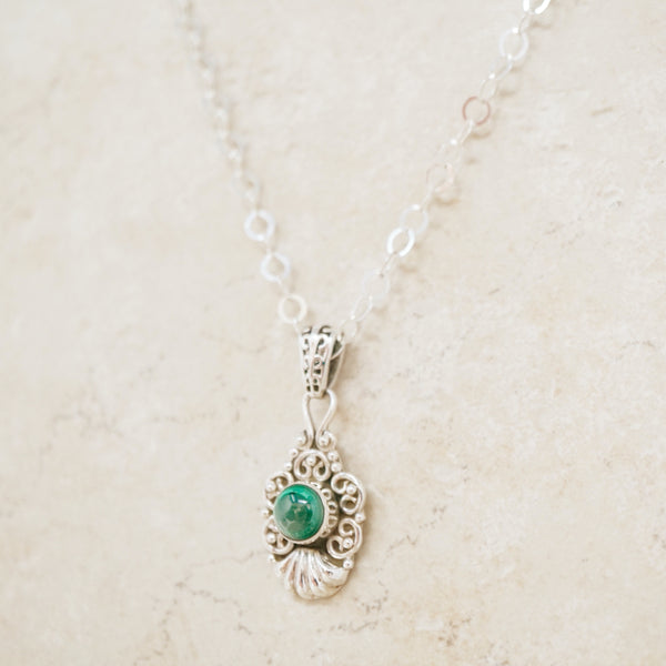 Vintage Malachite & Sterling Silver Necklace
