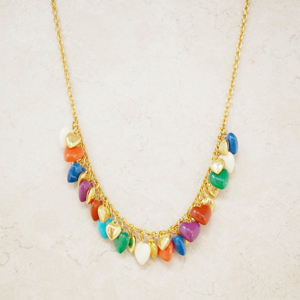 Vintage Colorful Heart Charm Dangle Necklace, 1980s