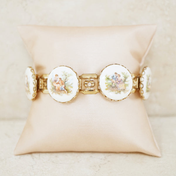 Vintage Limoges French Countryside Bracelet, 1960s