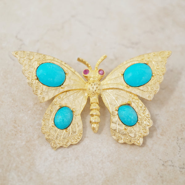 Vintage Golden Butterfly with Turquoise Cabochons, 1970s