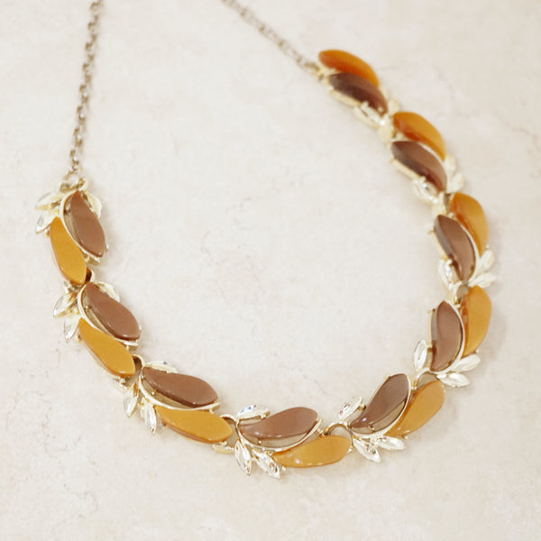 Vintage Brown Thermoset Choker Necklace, 1960s