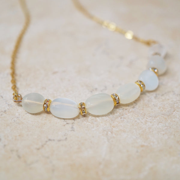 Moonstone Nuggets Gemstone Bar Necklace