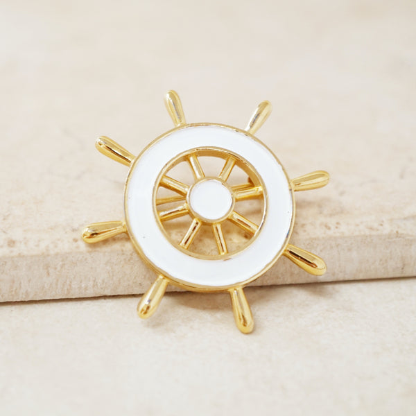 Vintage White Enamel Ship's Wheel Brooch by Crown Trifari, 1960s