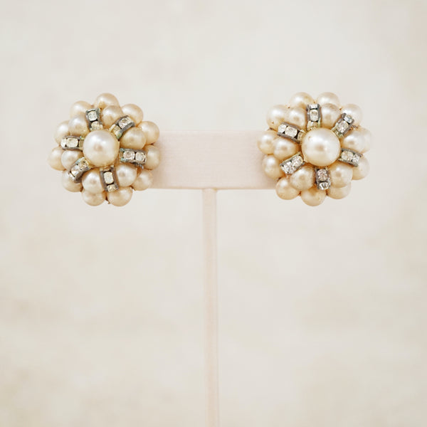 Vintage Faux Pearl & Rhinestone Cluster Earrings, 1950s