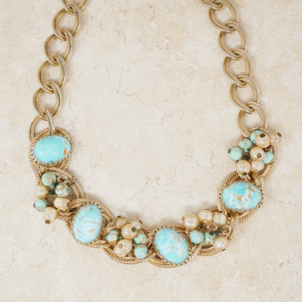 Vintage Turquoise Cabochon Choker Necklace, 1960s