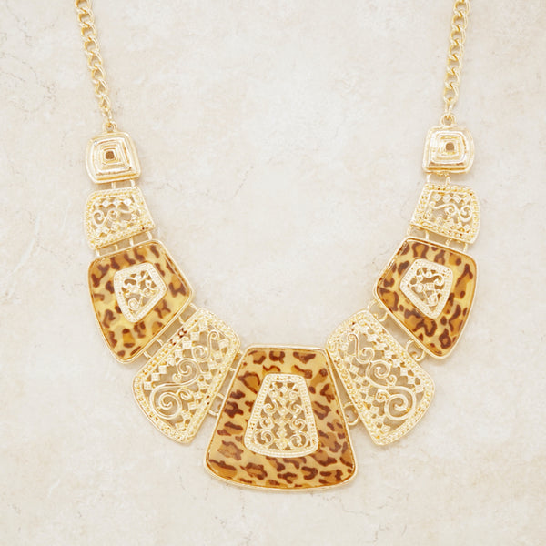 Gold Leopard Print Statement Necklace
