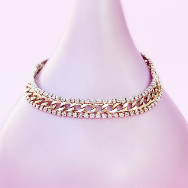Vintage Gilded Curb Chain Necklace With Two Rhinestone Rows, 1970s
