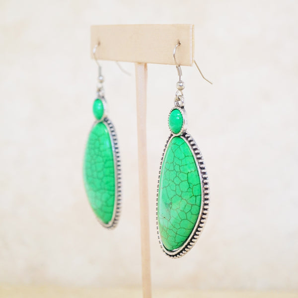 Green Howlite Statement Earrings