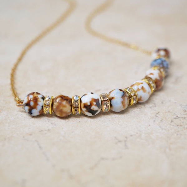 Fire Agate Gemstone Bar Necklace