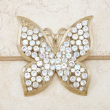 Vintage Gilded Butterfly Figural Brooch with Aurora Borealis Crystals, 1960s