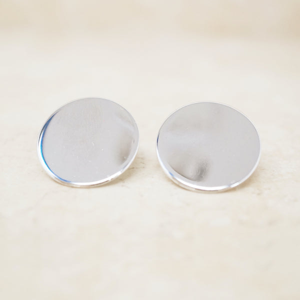 Vintage Silver Mirrored Disc Earrings By Coro, 1960s