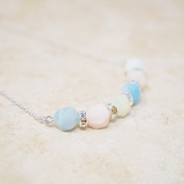 Morganite & Sterling Silver Gemstone Bar Necklace