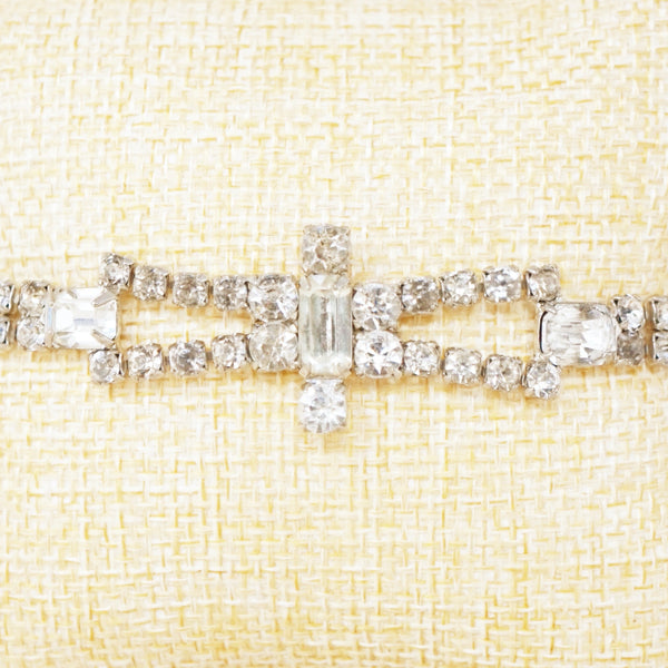 Vintage Rhinestone Double Row Bracelet with Emerald Cut Accents, 1950s