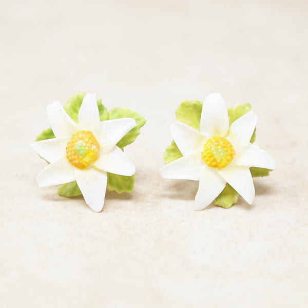 Vintage English Porcelain Hand Painted Daisy Flower Earrings, 1950s