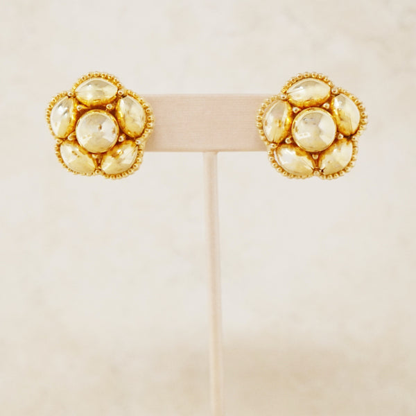 Vintage Gold Flower Button Earrings