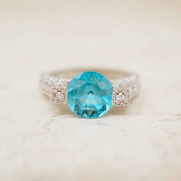 Sterling Silver Blue Crystal Cocktail Ring