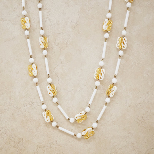 Vintage White & Gold Ornate Beaded Necklace, 1960s