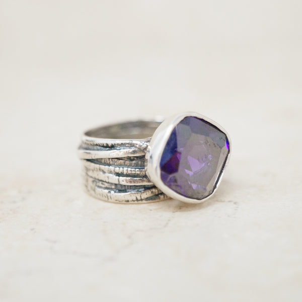 Sterling Silver & Purple Crystal Ring