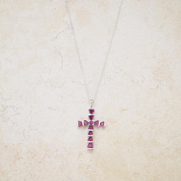 Garnet Swarovski & Sterling Cross Necklace