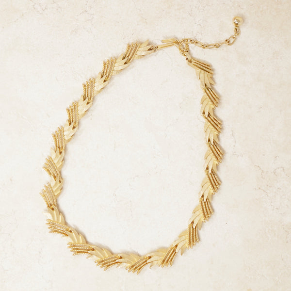 Vintage Gilded Abstract Spray Choker Necklace by Crown Trifari, 1950s