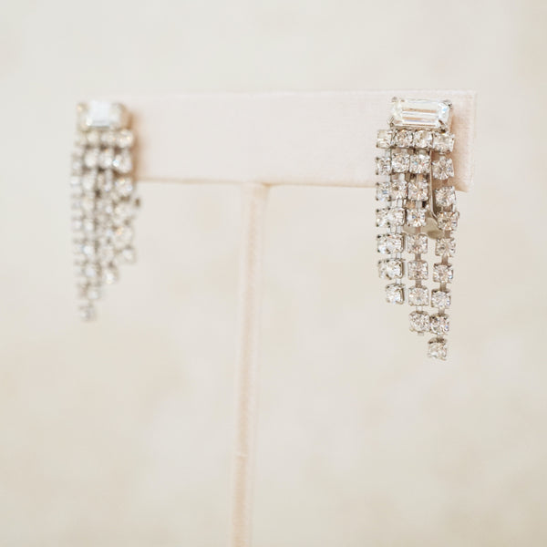 Vintage Rhinestone Fringe Earrings with Baguette Crystal, 1950s