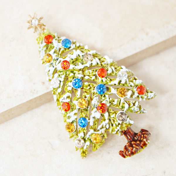 Vintage Snowy Christmas Tree Brooch by ModeArt, 1960s