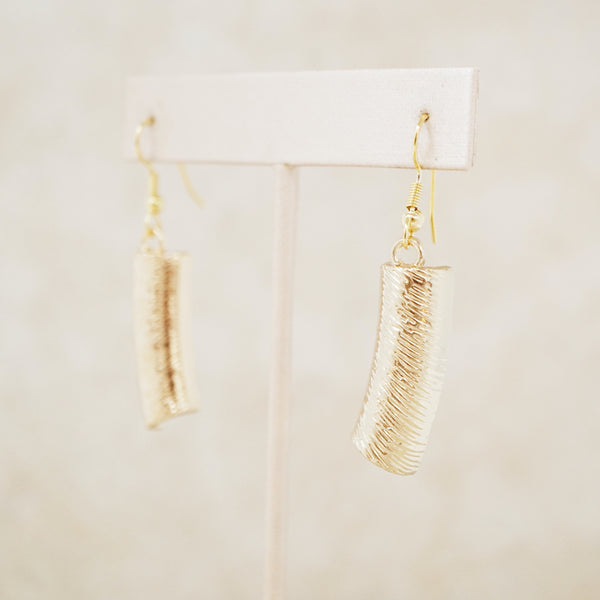 Gold Textured Drop Earrings