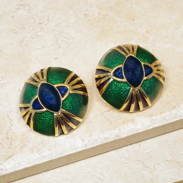 Vintage Enamel & Gilt Snake Eyes Dome Earrings by Joan Rivers, 1980s