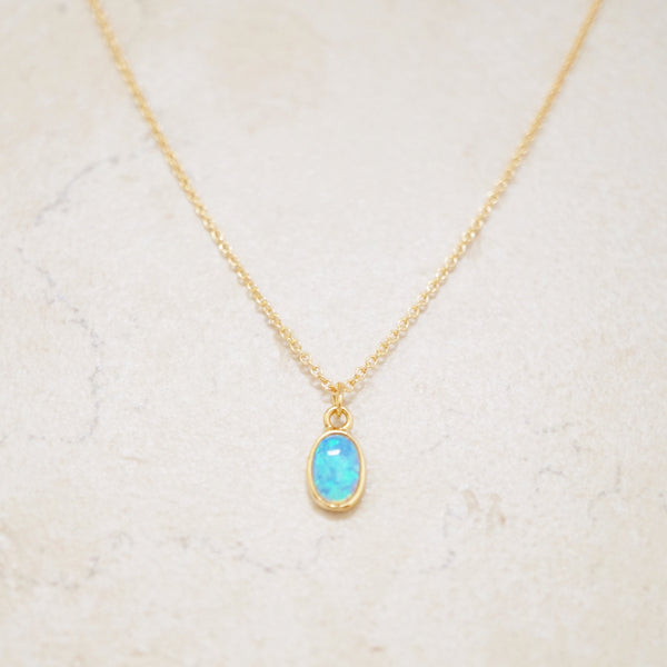 Dainty Blue Opal Necklace