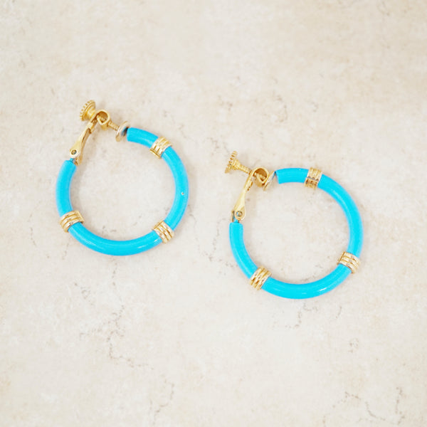 Vintage Sky Blue Enameled Hoop Earrings by Napier, 1970s