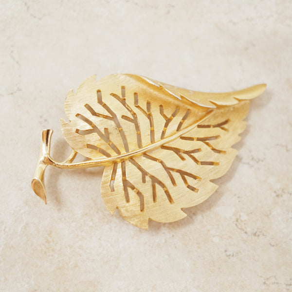 Vintage Trifari 1960s Textured Leaf Brooch