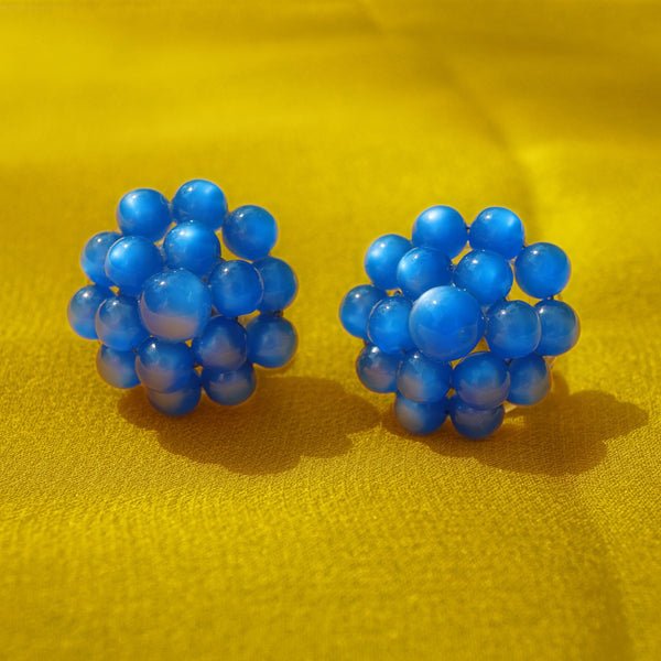 Vintage Blue Faux Moonstone Cluster Earrings, 1950s