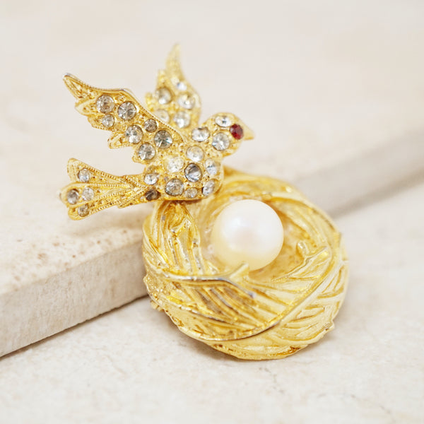 Vintage Gilded Bird's Nest Brooch with Pearl, 1960s