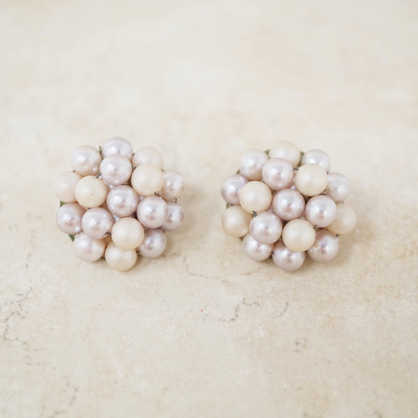 Vintage Faux Lilac Pearl Cluster Earrings, 1950s