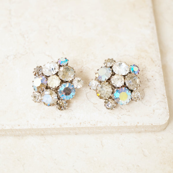 Vintage Aurora Borealis Blue & Gray Crystal Cluster Earrings, 1950s